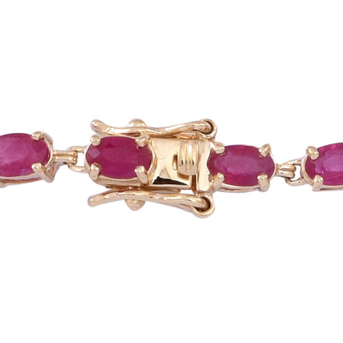 9K Yellow Gold Burmese Ruby (Ovl), Diamond Floral Bracelet (Size 7.5) 8.250 Ct.