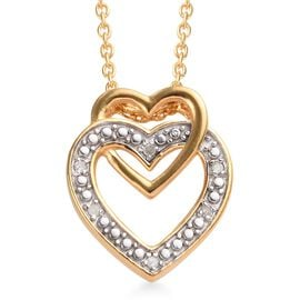 Diamond (Rnd) Heart Pendant with Chain (Size 18) in 14K Gold Overlay Sterling Silver