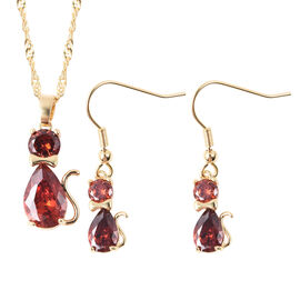 2 Piece Set Simulated Ruby Cat Pendant with Chain 20 with 2 inch Extender and Earrings in Gold Tone