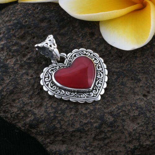 Royal Bali Collection Sponge Coral Heart Pendant Sterling Silver