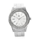STRADA Japanese Movement White Austrian Crystal Water Resistant Cuff Bangle Watch (Size 6.5) in Silv