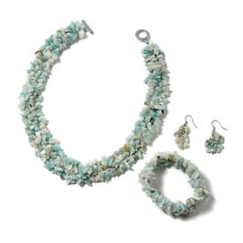 3 Piece Set - Russian Amazonite Necklace (Size 18), Stretchable Bracelet (Size 7) and Hook Earrings
