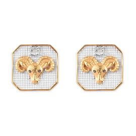 Diamond Aries  Zodiac Stud Earrings (with Push Back) in Yellow Gold and Platinum Overlay Sterling Si