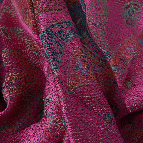 SILK MARK - 100% Superfine Silk Dark Pink, Green and Multi Colour Flower and Paisley Pattern Jacquard Jamawar Scarf with Tassels (Size 180x70 Cm) (Weight 125 - 140 Gms)