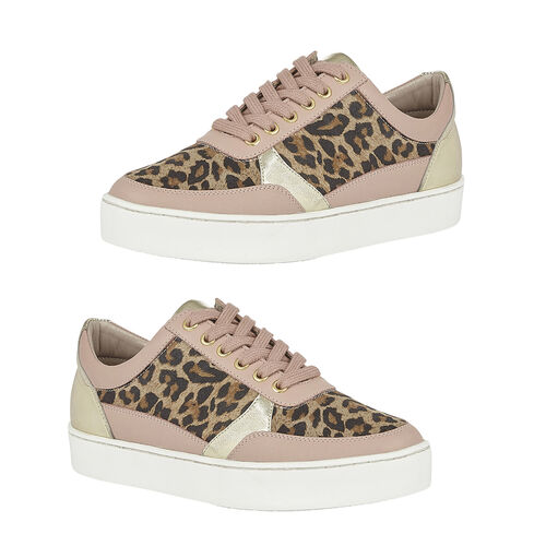 Lotus Pink & Leopard-Print Leather Venice Lace-Up Trainers (Size 5)