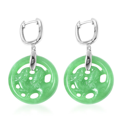 Green Jade (Rnd), Natural White Cambodian Zircon Bird Couple Earrings (with Clasp) in Rhodium Overlay Sterling Silver 44.88 Ct.