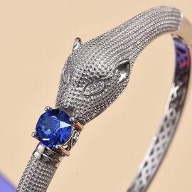 J Francis - Crystal from Swarovski Sapphire Colour Crystal (Rnd) Swarovski Bangle (Size 7.5)