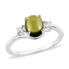 1.50 Carat Vesuvianite and Cambodian Zircon Solitaire Ring in Sterling Silver