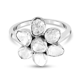 Artisan Crafted Polki Diamond Floral Ring in Platinum Overlay Sterling Silver 0.50 Ct.