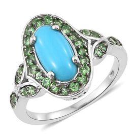 Arizona Sleeping Beauty Turquoise (Ovl 1.75 Ct), Tsavorite Garnet Ring in Platinum Overlay Sterling Silver 2.750 Ct.
