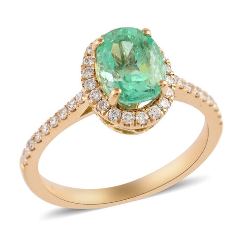 ILIANA 18K Yellow Gold AAA Boyaca Colombian Emerald and Diamond (SI/G-H) Ring 1.91 Ct, Gold wt. 3.28