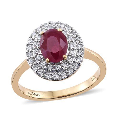 ILIANA 18K Yellow Gold 2 Carat AAAA Pigeon Blood Burmese Ruby Ring with two row Diamond SI G-H