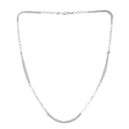 JCK Vegas Collection Rhodium Plated Sterling Silver Multi Strand Beads Necklace (Size 24), Silver wt. 6.00 Gms.