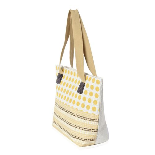 2 Piece Set - Dot Pattern Tote Bag with Zipper Closure (Size 44x30x14 Cm) and Hat with Bowknot (Size 29x31 Cm) - Beige and Yellow
