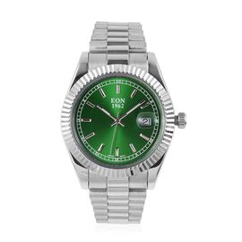 EON 1962 Swiss Movement Green Dial Sapphire Glass 3ATM Water Resistant Watch in Silver Tone with Stainless Steel