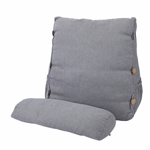 Three Dimensional Triangle Cushion with Round Pillow - Grey