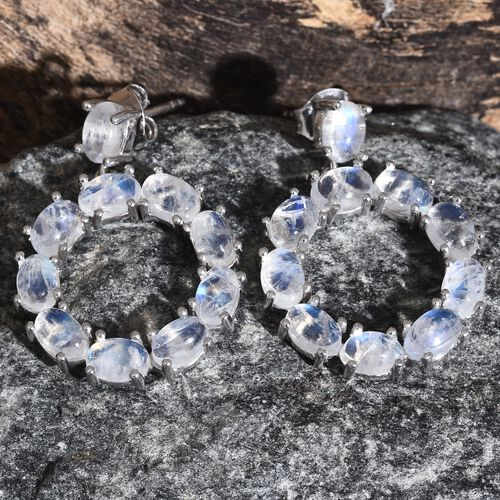 Sri Lankan Rainbow Moonstone (Ovl) Circle of Life Earrings (with Push Back) in Platinum Overlay Sterling Silver 12.000 Ct. Silver wt. 5.95 Gms.
