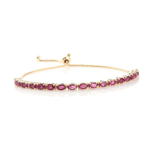9K Yellow Gold African Ruby (Ovl) Bolo Adjustable Bracelet (Size 7.5)  5.500 Ct, Gold wt 5.63 Gms.