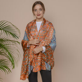 New Collection- 100% Mulberry Silk Garden Themed Pattern Scarf (Size 180x110Cm) - Orange