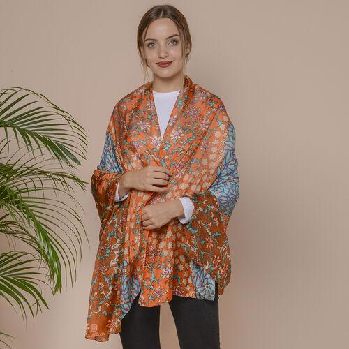 New Collection- 100% Mulberry Silk Garden Themed Pattern Scarf (Size 180x110Cm) - Orange