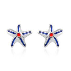 Platinum Overlay Sterling Silver Enamelled Star Fish Earrings (with Push Back)