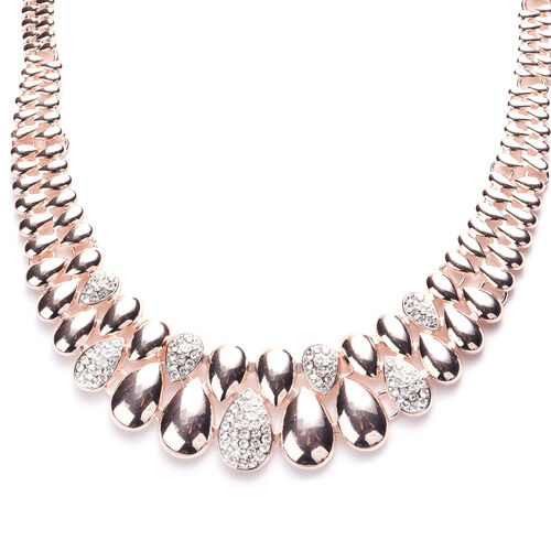 White Austrian Crystal Necklace (Size - 20 with 2 inch Extender) in Rose Gold Tone