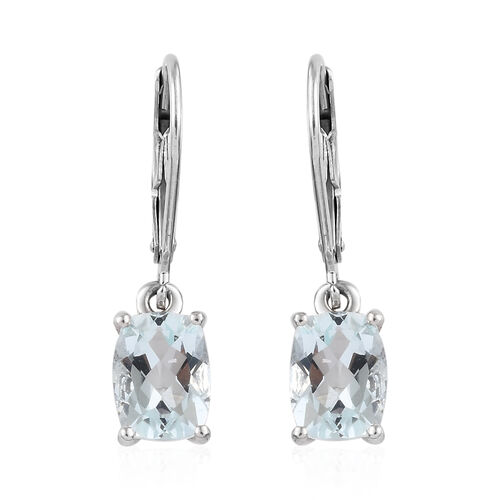Espirito Santo Aquamarine (Cush) Lever Back Earrings in Platinum Overlay Sterling Silver 2.500 Ct.