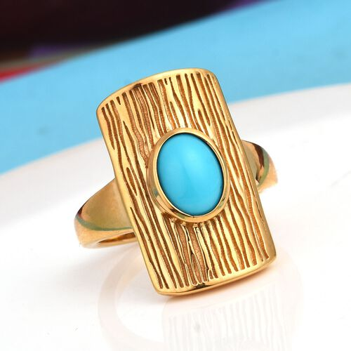 Arizona Sleeping Beauty Turquoise Ring in 14K Gold Overlay Sterling Silver 1.00 Ct, Silver wt 5.76 Gms