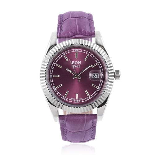EON 1962 Swiss Movement Sapphire Glass 3ATM Water Resistant Watch in Silver Tone with Purple Colour