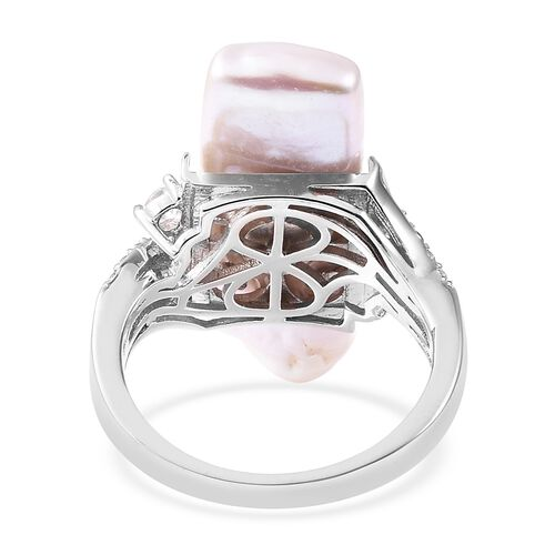 Keshi Pearl (Bgt), Natural White Cambodian Zircon Ring in Rhodium Overlay Sterling Silver