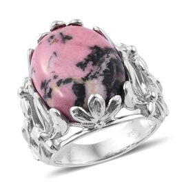 14 Ct Zaire Rhodonite Solitaire Ring in Platinum Plated