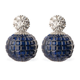 Lustro Stella Simulated Blue Sapphire and Simulated Diamond Drop Earrings (with Push Back) in Rhodiu