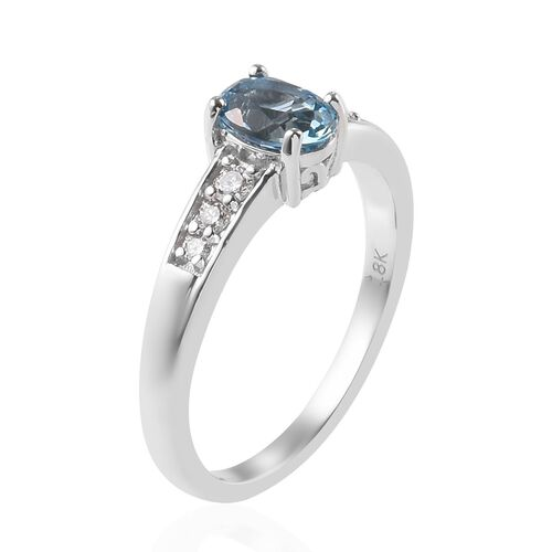 ILIANA 18K White Gold AAA Santa Maria Aquamarine (Ovl 7x5mm), Diamond (SI/G-H) Ring 0.75 Ct.