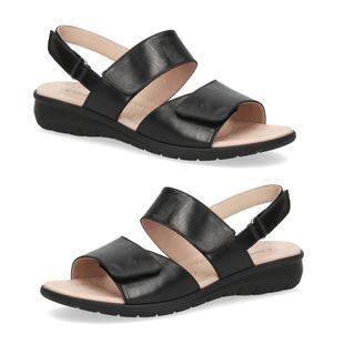 Caprice Genuine Leather Flat Black Sandals