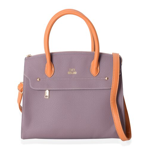 TW11 COLLECTION Winter Purple City Tote Bag with External Zipper Pocket and Removable Shoulder Strap (Size 30.5x27x14.5 Cm)