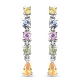 Fissure Filled Ruby and Natural Cambodian Zircon Dangling Earrings (with Push back) in Platinum and