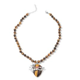 Tigers Eye (Pear and Rnd), Red Austrian Crystal Venetian Mask Beads Necklace (Size 18 with 2 inch Ex