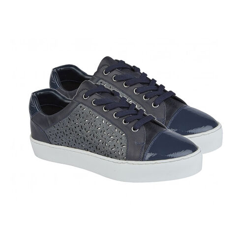 Lotus Navy Leather Cologne Lace-Up Trainers (Size 6)