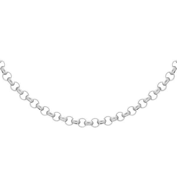JCK Vegas Collection Round Belcher Chain in Rhodium Plated Silver 24 Inch