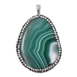 Easter Egg Shaped Green Agate, Hematite and White Colour Austrian Crystal Pendant in Rhodium Overlay Sterling Silver 103.500 Ct.