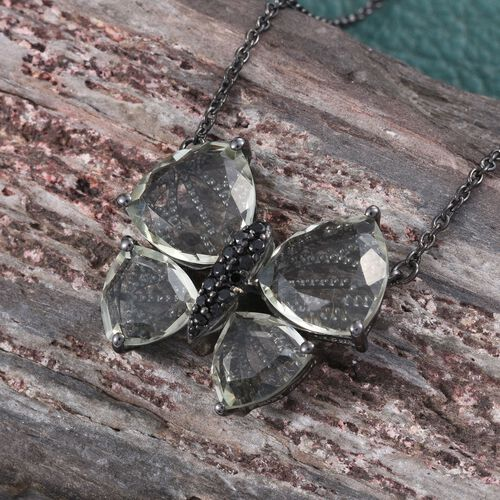 GP Green Amethyst (Trl), Boi Ploi Black Spinel and Kanchanaburi Blue Sapphire Butterfly Pendant With Chain (Size 18) in Black Rhodium Plated Sterling Silver 13.000 Ct.