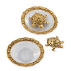 Set of 2 - Gold Finish Feng Shui Tortoise at Glass Plate (Size 13.97x13.97x2.54 Cm)