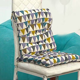 Set of 2 - Triangular Pattern Square Chair Pad (Size 40x40cm) - Multi