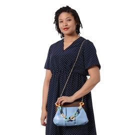 LA MAREY Clutch Bag with Extra Multi Colour Handle Drop in Pastel Blue (Size 23x4x31 Cm)