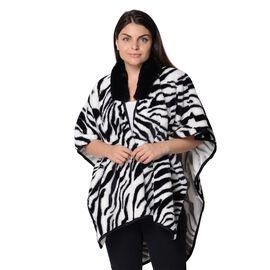 Zebra Pattern Winter Kimono with Faux Fur Collar (Size 79x99 Cm) - Black and White