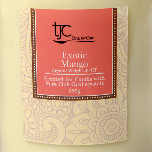 Exotic Mango Scented Glass Candle with Rare Pink Opal (20 CTs)
