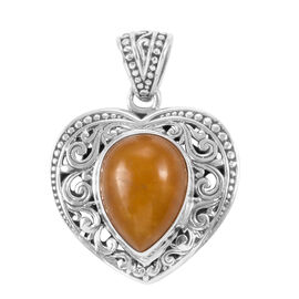 Royal Bali Collection Yellow Jade (Pear) Pendant in Sterling Silver 10.33 Ct.
