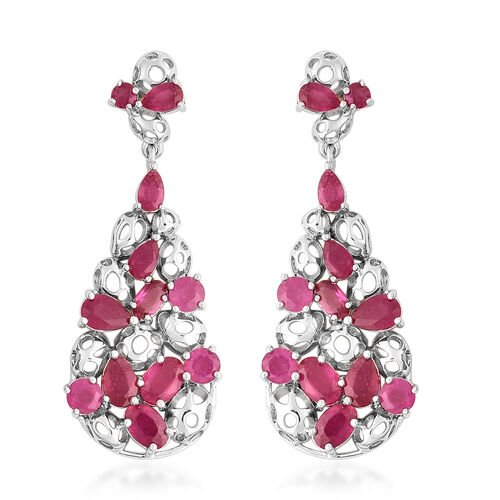 RACHEL GALLEY Misto Collection - African Ruby Drop Earrings (with Push Back) in Rhodium Overlay Ster