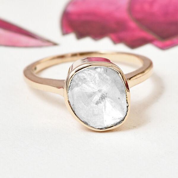 Handmade 9K Yellow Gold Polki Diamond Solitaire Ring 0.50 Ct.