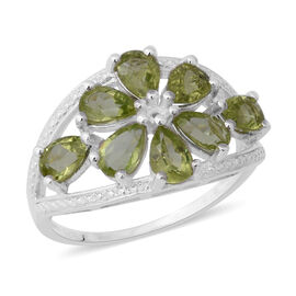 Hebei Peridot (Pear) Ring (Size T) in Sterling Silver 3.52 Ct.